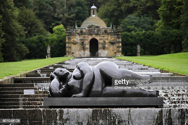Donna Sdraiata by artist Fernando Botero one of the many moumental sculptures on dispay at Chatsworth stately home as part of the Sotheby's Beyond...
