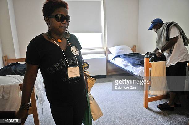 Donna Stanton, left, and her husband Michael Stanton, from Baltimore, pack up their belongings after spending two days at McDaniel College in...