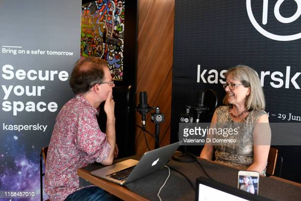 Donna Strickland attend M24 pop up radio at Kaspersky Lounge during Starmus V A Giant Leap sponsored by Kaspersky at Samsung Hall on June 26 in...