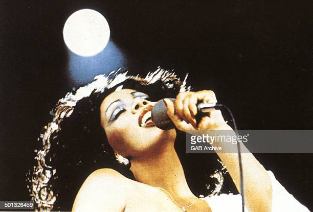 Donna Summer performs on stage circa 1975