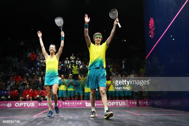 Donna Urquhart and Cameron Pilley of Australia celebrate victory during the Mixed Doubles Gold Medal Match between Dipika Pallikal Karthik and Saurav...