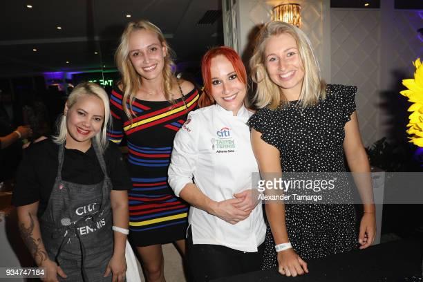 Donna Vekic Chef Adrianne Calvo and Daria Gabriloba pose at the Citi Taste Of Tennis Miami 2018 at W Miami on March 19 2018 in Miami Florida