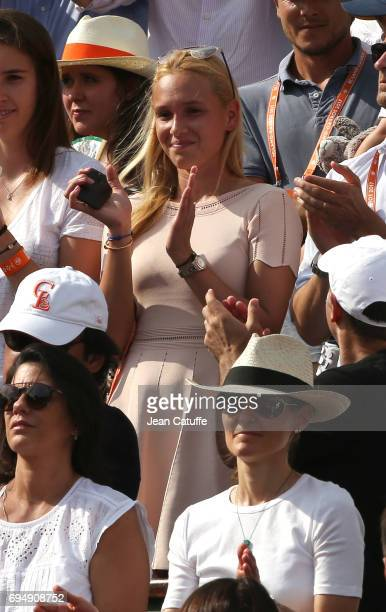 Donna Vekic girlfriend of Stan Wawrinka of Switzerland attends the men's final on day 15 of the 2017 French Open second Grand Slam of the season at...