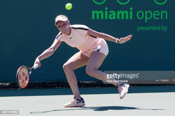 Donna Vekic in action on Day 5 of the Miami Open Presented at Crandon Park Tennis Center on March 23 in Key Biscayne FL