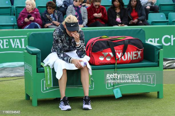 Donna Vekic of Croatia appears in tears after losing to Caroline Garcia of Spain during day seven of the Nature Valley Open at Nottingham Tennis...