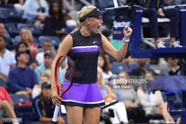 Donna Vekic of Croatia celebrates a point during her Women's Singles fourth round match against Julia Goerges of Germany on day eight of the 2019 US...