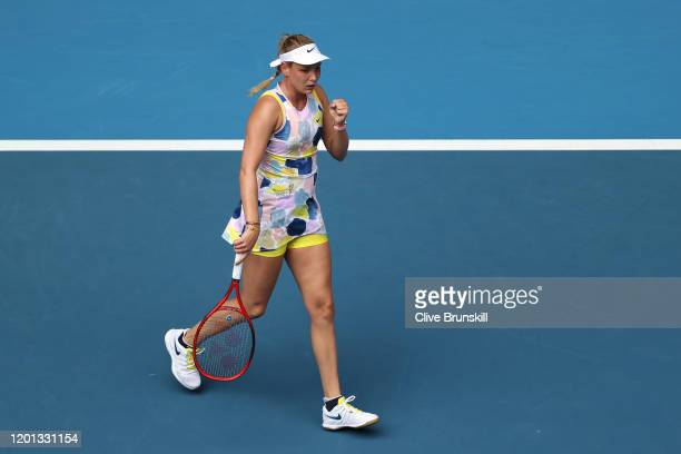 Donna Vekic of Croatia celebrates after winning a point during her Women's Singles second round match against Alize Cornet of France on day four of...