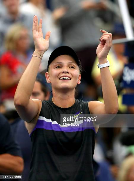 Donna Vekic of Croatia celebrates after winning her Women's Singles fourth round match against Julia Goerges of Germany on day eight of the 2019 US...