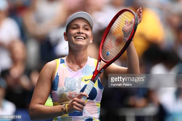 Donna Vekic of Croatia celebrates after winning match point during her Women's Singles second round match against Alize Cornet of France on day four...