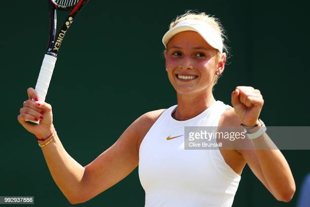 Donna Vekic of Croatia celebrates match point against Yanina Wickmayer of Belgium during their Ladies' Singles third round match on day five of the...