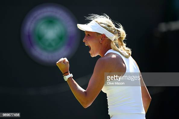 Donna Vekic of Croatia celebrates match point Andreas Seppi of Italy she defeats Sloane Stephens of the United States in their Ladies' Singles first...
