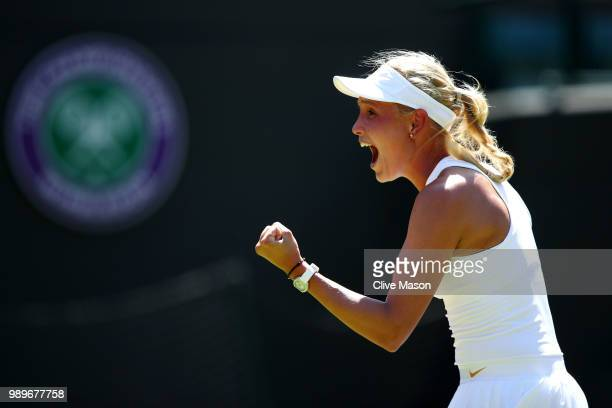 Donna Vekic of Croatia celebrates match point during her Ladies' Singles first round match against Sloane Stephens of the United States on day one of...