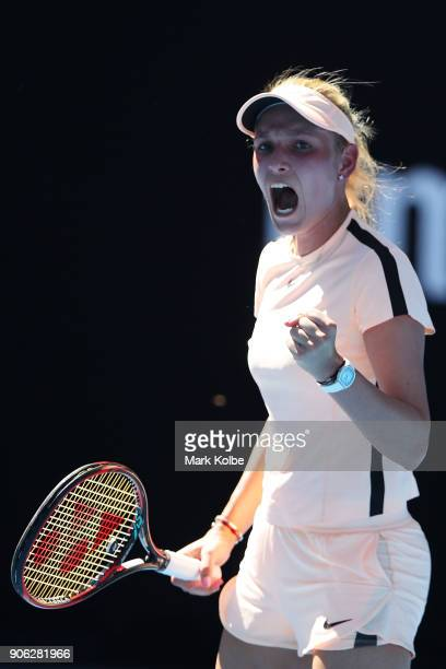 Donna Vekic of Croatia celebrates winning a point in her second round match against Angelique Kerber of Germany on day four of the 2018 Australian...
