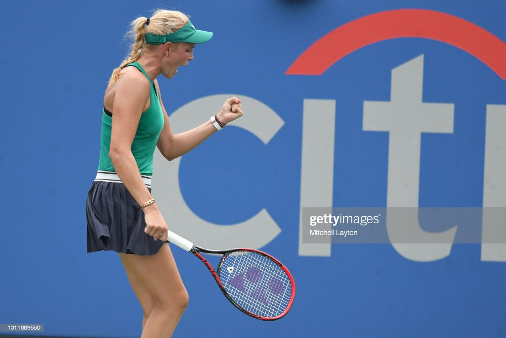 Donna Vekic of Croatia celebrates winning a shot on Svetlana Kuznetsova of Russia during the Women's Finals on Day Nine of the Citi Open at the Rock Creek Tennis Center on August 5, 2018 in Washington, DC.