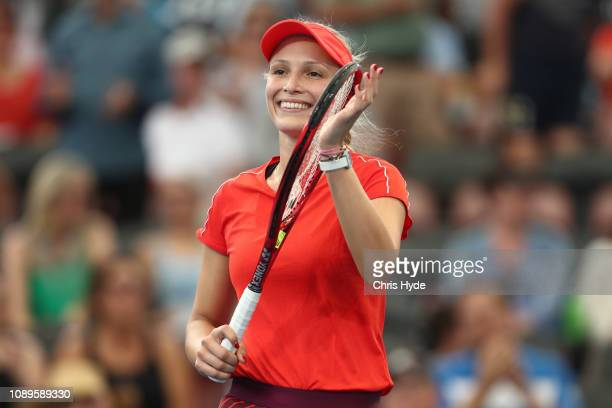 Donna Vekic of Croatia celebrates winning against Aliaksandra Sasnovich of Belarus during day six of the 2019 Brisbane International at Pat Rafter...