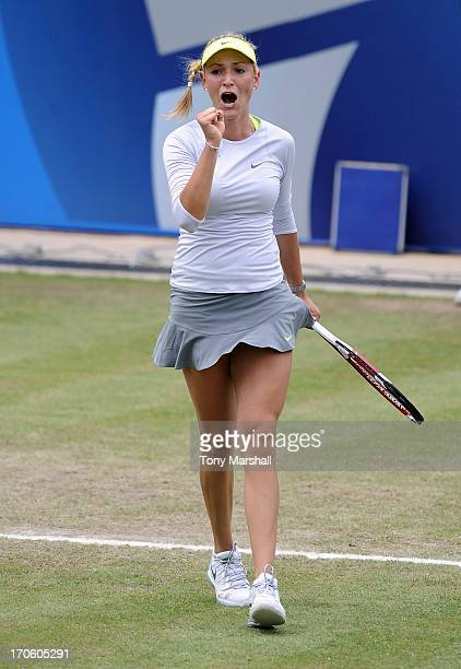 Donna Vekic of Croatia celebrates winning the first set in her Semi Final match against Magdalena Rybarikova of Slovakia during the AEGON Classic...
