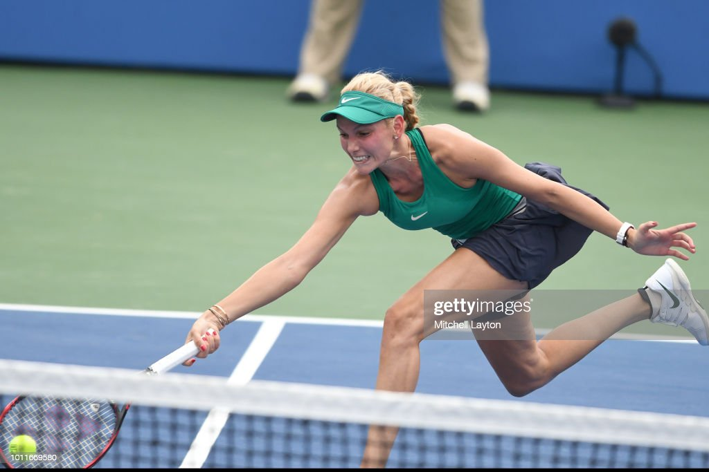 Donna Vekic of Croatia dives for a shot from Svetlana Kuznetsova of Russia during the Women's Finals on Day Nine of the Citi Open at the Rock Creek Tennis Center on August 5, 2018 in Washington, DC.