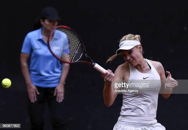 Donna Vekic of Croatia in action against Agnieszka Radwanska of Poland of Croatia during the TEB BNP Paribas Istanbul Cup tennis match at the Garanti...