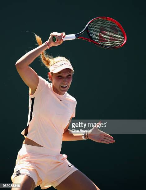 Donna Vekic of Croatia in action against Elena Vesnina of Russia in their second round match during the Miami Open Presented by Itau at Crandon Park...