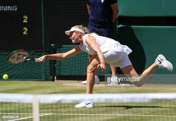 Donna Vekic of Croatia in action against Johanna Konta of Great Britain on day three of the 2017 Wimbledon Championships at the All England Lawn and...