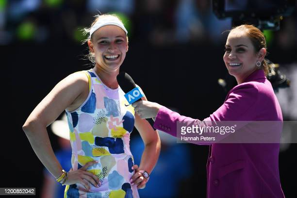 Donna Vekic of Croatia is interviewed by Jelena Dokic after winning her Women's Singles first round match against Maria Sharapova of Russia on day...