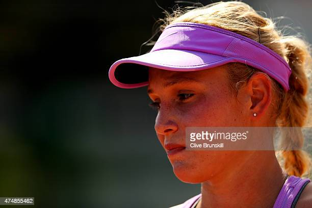 Donna Vekic of Croatia looks on during her women's singles match against Bojana Jovanovski of Serbia during day four of the 2015 French Open at...