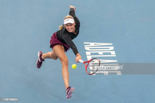 Donna Vekic of Croatia plays a backhand during her match against Dayana Yastremska of the Ukraine during day five of the 2020 Adelaide International...
