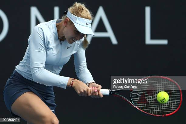 Donna Vekic of Croatia plays a backhand during her singles match againsts Marketa Vondrousova of the Czech Republic during the 2018 Hobart...