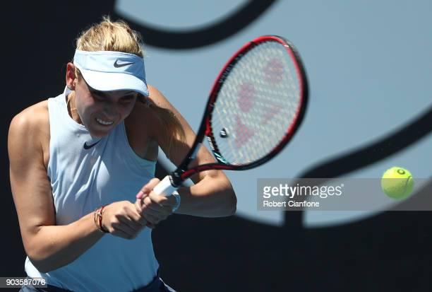 Donna Vekic of Croatia plays a backhand during her singles match against Heather Watson of Great Britain at the 2018 Hobart International at Domain...