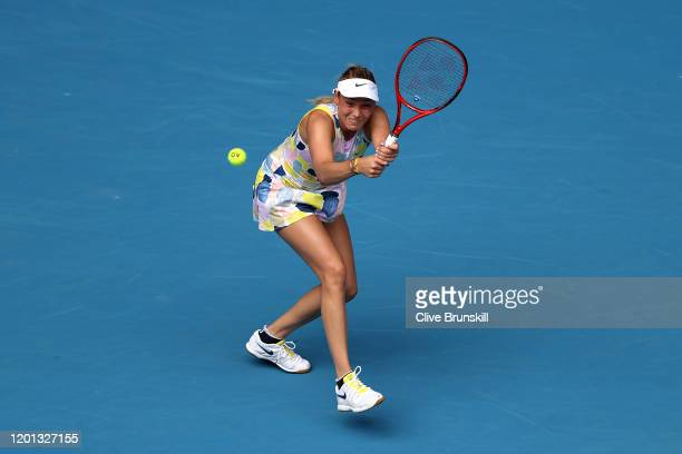 Donna Vekic of Croatia plays a backhand during her Women's Singles second round match against Alize Cornet of France on day four of the 2020...