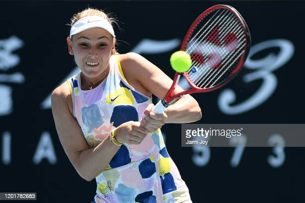 Donna Vekic of Croatia plays a backhand during her Women's Singles third round match against Iga Swiatek of Poland on day six of the 2020 Australian...