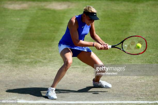 Donna Vekic of Croatia plays a backhand during her Women's Singles Final match against Johanna Konta of Great Britain during day 7 of the Aegon Open...