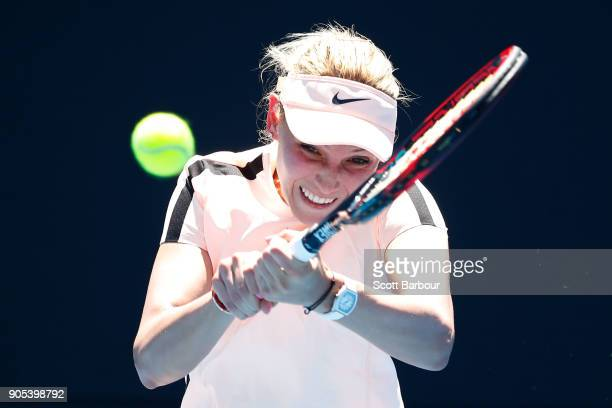 Donna Vekic of Croatia plays a backhand in her first round match against Nao Hibino of Japan on day two of the 2018 Australian Open at Melbourne Park...