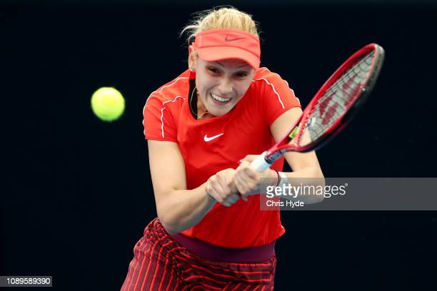 Donna Vekic of Croatia plays a backhand in her match against Aliaksandra Sasnovich of Belarus during day six of the 2019 Brisbane International at...