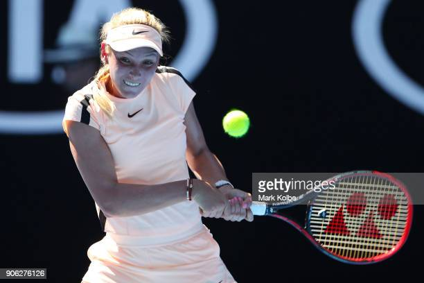 Donna Vekic of Croatia plays a backhand in her second round match against Angelique Kerber of Germany on day four of the 2018 Australian Open at...