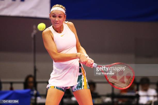 Donna Vekic of Croatia plays a backhand in the Singles quarter final against Caroline Garcia of France on day five of the Toray Pan Pacific Open at...