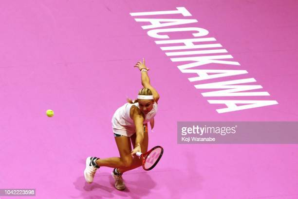 Donna Vekic of Croatia plays a backhand in the Singles semi final against Karolina Pliskova of the Czech Republic on day six of the Toray Pan Pacific...