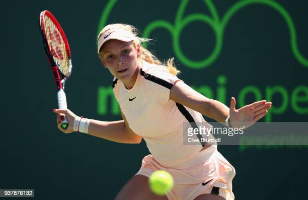 Donna Vekic of Croatia plays a forehand against Danielle Collins of the United States in their third round match during the Miami Open Presented by...
