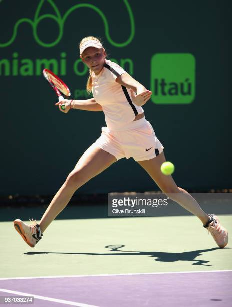 Donna Vekic of Croatia plays a forehand against Elena Vesnina of Russia in their second round match during the Miami Open Presented by Itau at...