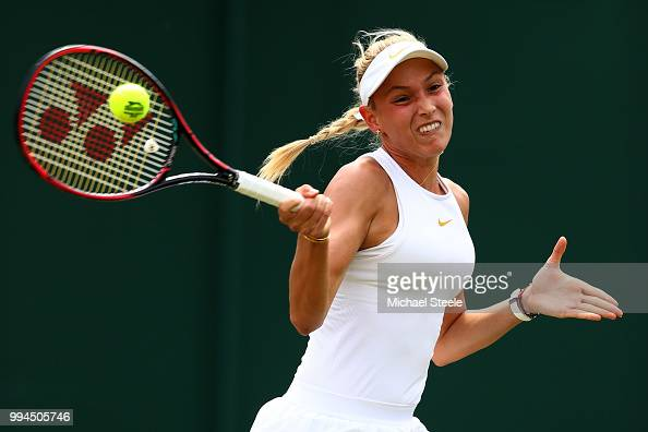 Donna Vekic of Croatia plays a forehand against Julia Goerges of Germany during their Ladies' Singles fourth round match on day seven of the...