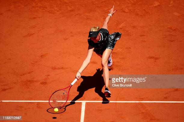 Donna Vekic of Croatia plays a forehand during her ladies singles fourth round match against Johanna Konta of Great Britain during Day eight of the...