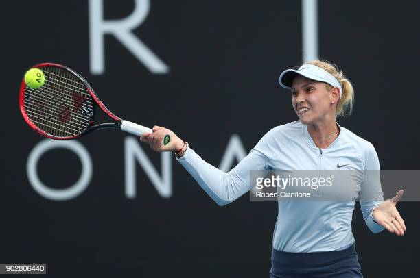 Donna Vekic of Croatia plays a forehand during her singles match againsts Marketa Vondrousova of the Czech Republic during the 2018 Hobart...