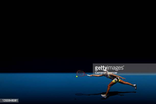 Donna Vekic of Croatia plays a forehand during her Women's Singles first round match against Maria Sharapova of Russia on day two of the 2020...