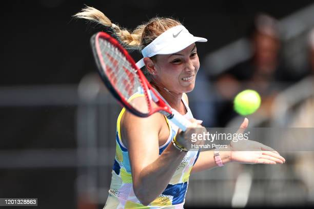 Donna Vekic of Croatia plays a forehand during her Women's Singles second round match against Alize Cornet of France on day four of the 2020...