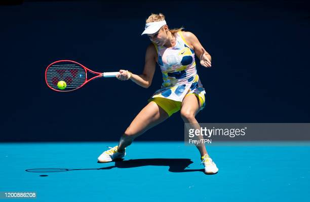 Donna Vekic of Croatia plays a forehand in her first round match against Maria Sharapova of Russia on day two of the 2020 Australian Open at...