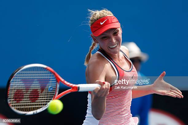 Donna Vekic of Croatia plays a forehand in her first round match against Naomi Osaka of Japan during day two of the 2016 Australian Open at Melbourne...