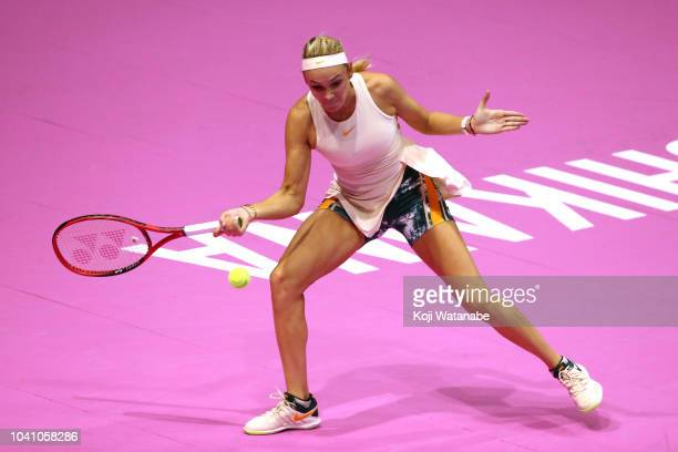 Donna Vekic of Croatia plays a forekhand against Johanna Konta of Great Britain in her Singles Round of 16 match on day four of the Toray Pan Pacific...