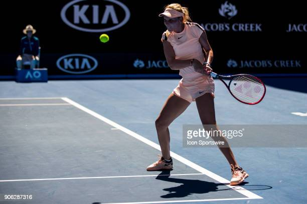 Donna Vekic of Croatia plays a shot in her second round match during the 2018 Australian Open on January 18 at Melbourne Park Tennis Centre in...