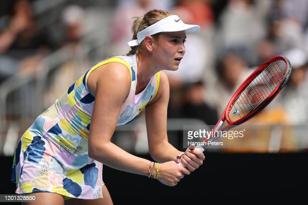 Donna Vekic of Croatia prepares to return a serve during her Women's Singles second round match against Alize Cornet of France on day four of the...