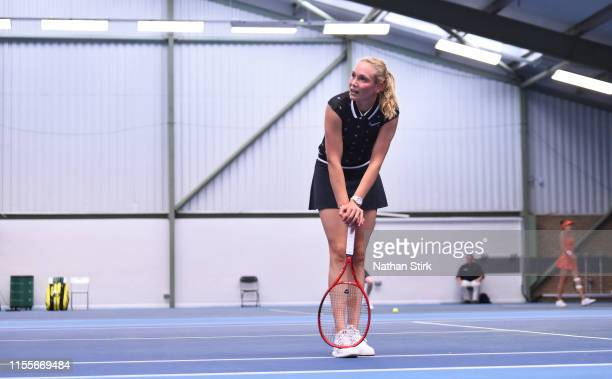 Donna Vekic of Croatia reacts as she plays against Chloe Paquet of France during day four of the Nature Valley Open at Nottingham Tennis Centre on...